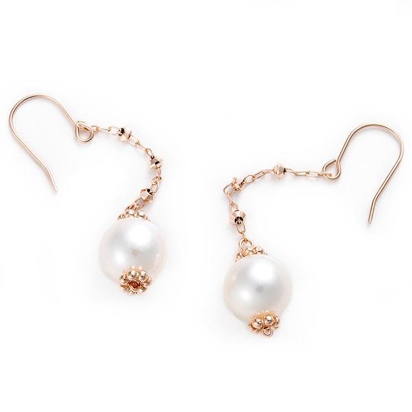 直送・代引不可ピアス アコヤ真珠 パール K10 ピンクゴールド シンプル 約7mm 約7ミリ ジプシーピアス アコヤ真珠 本真珠 真珠別商品の同時注文不可