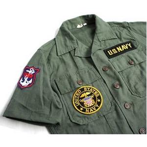 直送・代引不可アメリカ軍 OG-107 ファティーグシャツ/半袖  柄/NAVY  別商品の同時注文不可