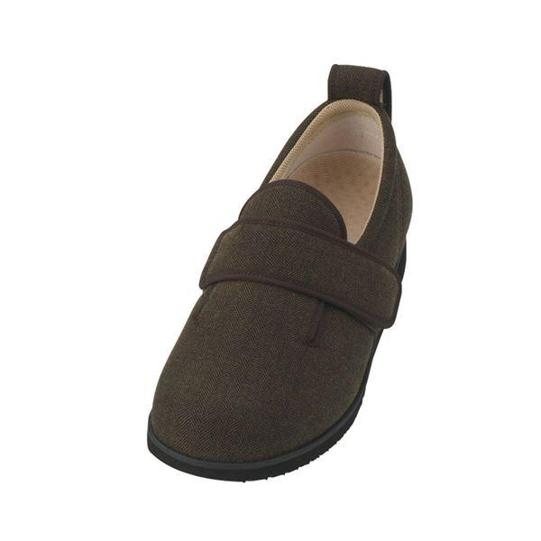 直送・代引不可介護靴 施設・院内用 ダブルマジック2ヘリンボン 5E(ワイドサイズ) 7023 両足 徳武産業 あゆみシリーズ /3L (25.0~25.5cm) 茶別商品の同時注文不可