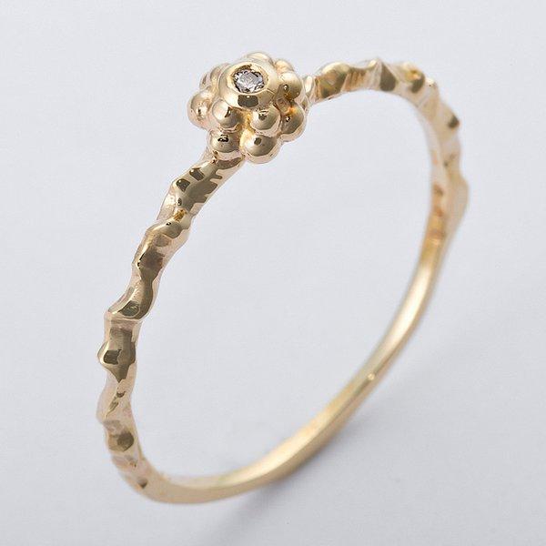 直送・代引不可K10イエローゴールド 天然ダイヤリング 指輪 ダイヤ0.01ct 12号 アンティーク調 フラワーモチーフ別商品の同時注文不可