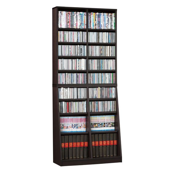 直送・代引不可シンプル書棚/本棚 【幅75cm】 ブラウン 可動棚付き 【組立】別商品の同時注文不可