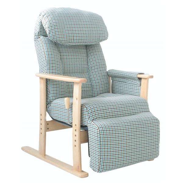 直送・代引不可リクライニングチェア(高座椅子) フットレスト/肘付き 無段階ガス式 BL ブルー(青)別商品の同時注文不可