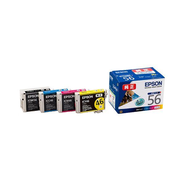 直送・代引不可(まとめ) エプソン EPSON インクカートリッジ 4色パック IC4CL56 1箱(4個:各色1個) 【×3セット】別商品の同時注文不可