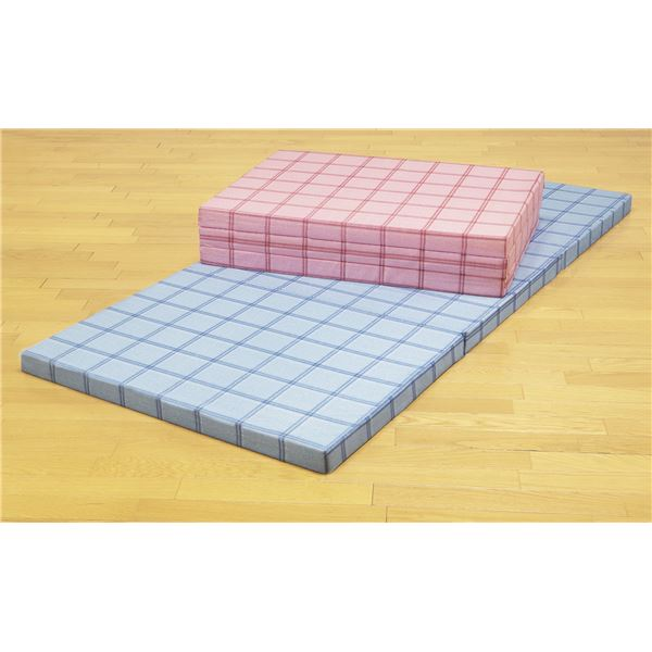 直送・代引不可腰を支える3つ折り格子柄バランスマットレス シングル ピンク×ブルー2色組【代引不可】別商品の同時注文不可