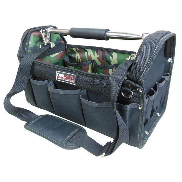 直送・代引不可(業務用5個セット) DBLTACT オープンキャリーバッグ(ツールバッグ) 撥水加工 DT-SRB-420 420mm 迷彩 〔DIY用品/大工道具〕別商品の同時注文不可