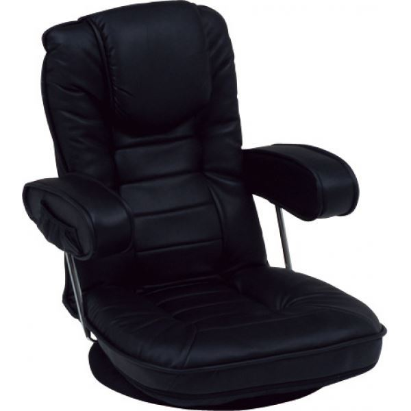 直送・代引不可リクライニング回転座椅子 肘掛け 背部14段リクライニング/頭部枕付/肘部跳ね上げ式 黒(ブラック) 【代引不可】別商品の同時注文不可