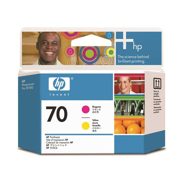 直送・代引不可(まとめ) HP70 プリントヘッド マゼンタ/イエロー C9406A 1個 【×3セット】別商品の同時注文不可