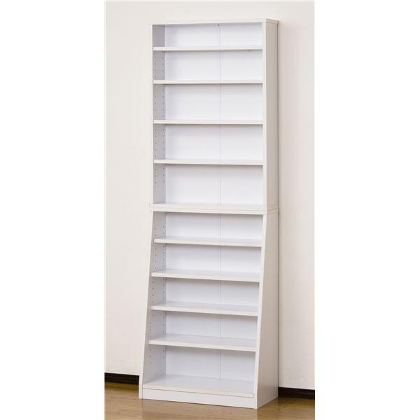 直送・代引不可シンプル書棚/本棚 【幅60cm】 ホワイト 可動棚付き 【組立】別商品の同時注文不可
