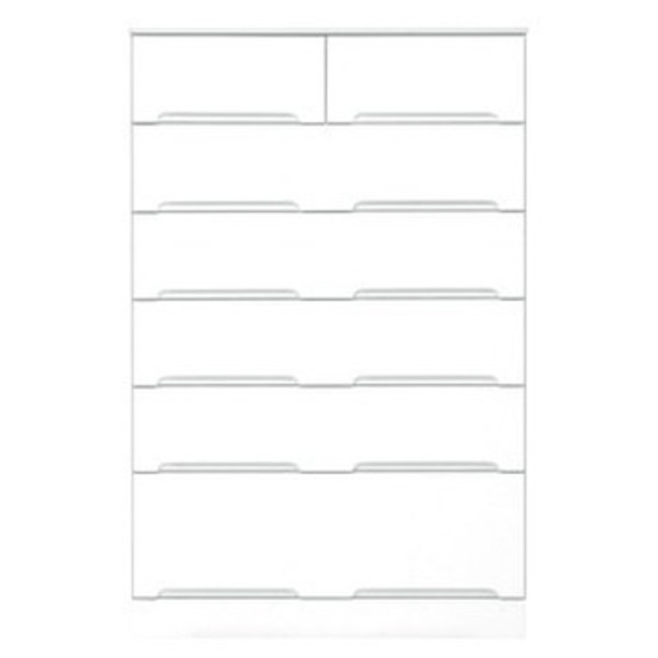 直送・代引不可ハイチェスト 6段 【幅80cm】 スライドレール付き引き出し 日本製 ホワイト(白) 【完成品】【代引不可】別商品の同時注文不可