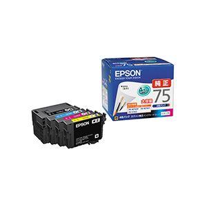 直送・代引不可(まとめ) エプソン EPSON インクカートリッジ 大容量4色パック IC4CL75 1箱(4個:各色1個) 【×3セット】別商品の同時注文不可