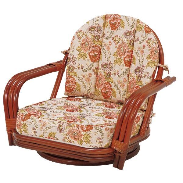 直送・代引不可回転座椅子/パーソナルチェア 【ゆったりサイズ】 座面高16cm 木製(ラタン製) 肘付き【代引不可】別商品の同時注文不可