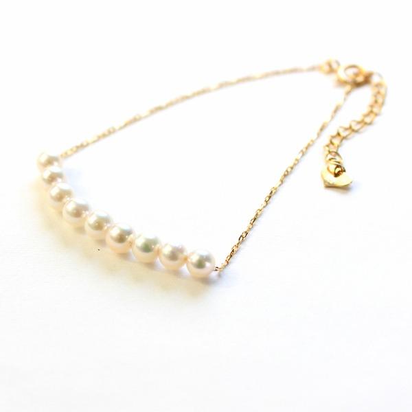 直送・代引不可 18金 アコヤ真珠 ライン ブレスレット 別商品の同時注文不可