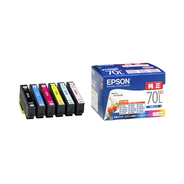 直送・代引不可(まとめ) エプソン EPSON インクカートリッジ 増量6色パック IC6CL70L 1箱(6個:各色1個) 【×3セット】別商品の同時注文不可