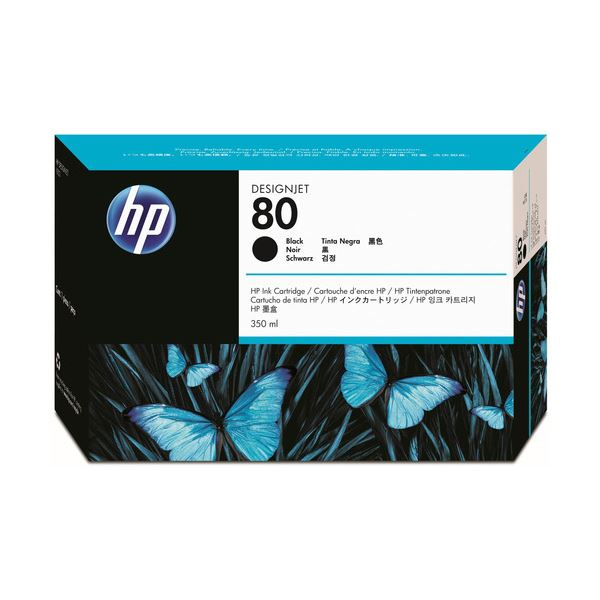 直送・代引不可(まとめ) HP80 インクカートリッジ ブラック 350ml 染料系 C4871A 1個 【×3セット】別商品の同時注文不可