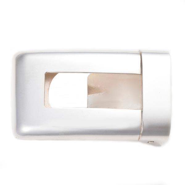 直送・代引不可ベルトバックル 角型透かし 無地 3cmベルト幅用 銀製 磨き仕上げ 日本伝統工芸品 ハンドメイド スターリングシルバー別商品の同時注文不可