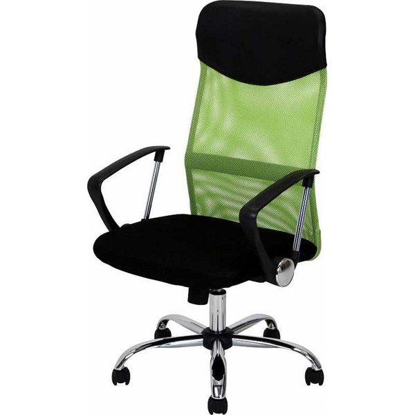 直送・代引不可デスクチェア(椅子)/メッシュバックチェアー ガス圧昇降機能/肘掛け/キャスター付き HF-98GR グリーン(緑)【組立品】【代引不可】別商品の同時注文不可