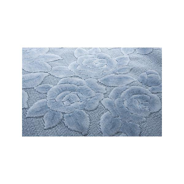 直送・代引不可抗菌・防ダニカーペット/絨毯 【8畳用 352cm×352cm】 フリーカット可 バラ柄 日本製 ブルー(青)【代引不可】別商品の同時注文不可