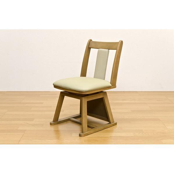 直送・代引不可360度回転するダイニングこたつ用チェア/回転椅子 【2脚セット】 ナチュラル 張地:合成皮革(合皮) 天然木フレーム【代引不可】別商品の同時注文不可