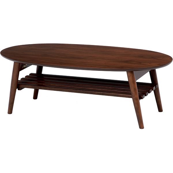 直送・代引不可折れ脚テーブル(ローテーブル/折りたたみテーブル) 楕円形 幅100cm 木製 収納棚付き ブラウン【代引不可】別商品の同時注文不可