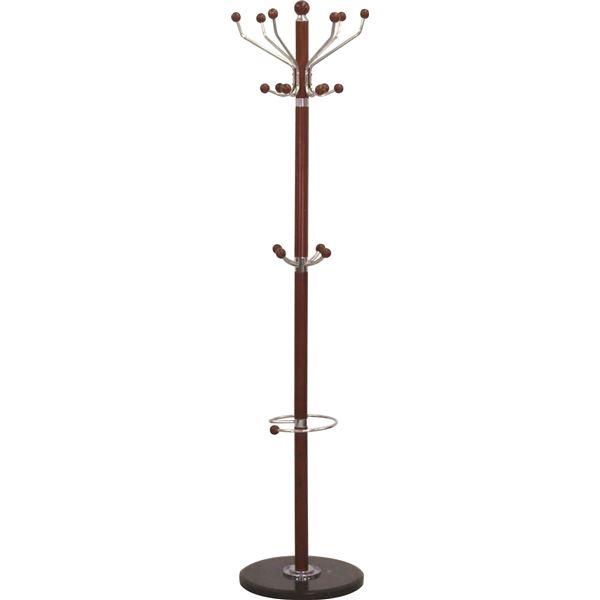 直送・代引不可ポールハンガーA(衣類収納) 高さ182cm 大理石ベース×木製ポール 傘立て付き BR ブラウン別商品の同時注文不可