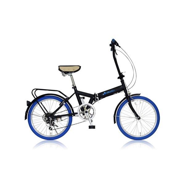 直送・代引不可折りたたみ自転車 20インチ/ブルー(青) シマノ6段変速 【MIWA】 ミワ FD1B-206【代引不可】別商品の同時注文不可