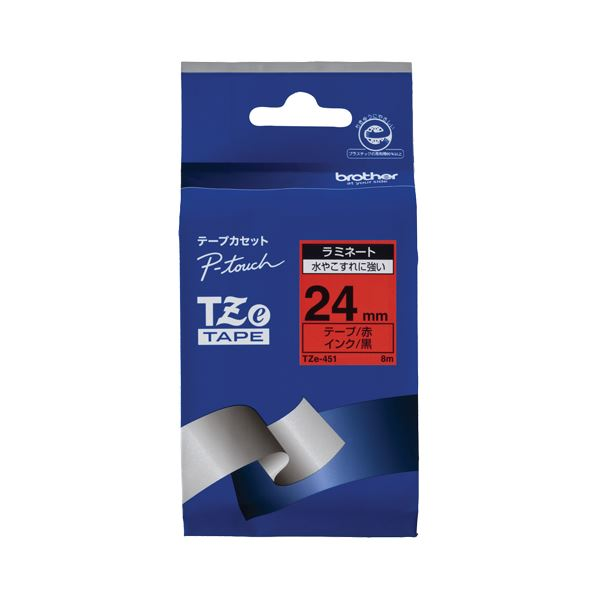 直送・代引不可(まとめ) ブラザー BROTHER ピータッチ TZeテープ ラミネートテープ 24mm 赤/黒文字 TZE-451 1個 【×6セット】別商品の同時注文不可