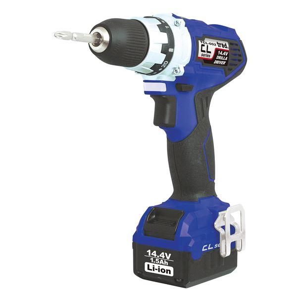 直送・代引不可(業務用5個セット) trad 充電式ドリル&ドライバー(DIY用) TCL-002 14.4V ブルー 別商品の同時注文不可
