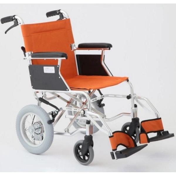 直送・代引不可介助式車椅子 オレンジ アルミ製 バンドブレーキ仕様/軽量コンパクトタイプ 【MIWA】 ミワ HTB-12D【代引不可】別商品の同時注文不可