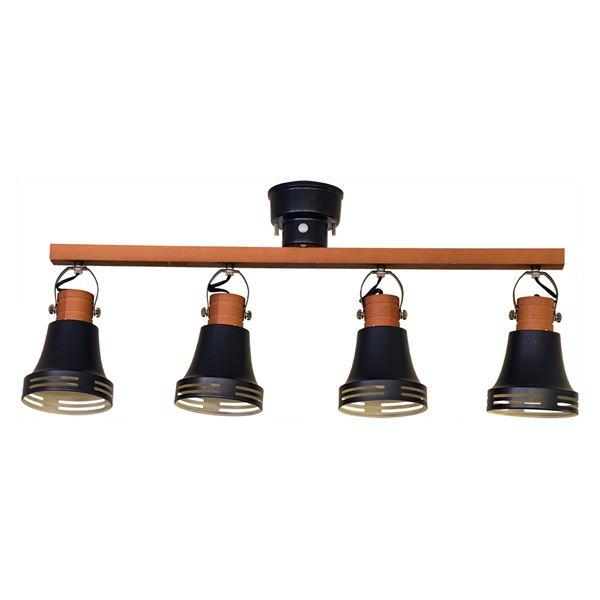 直送・代引不可シーリングライト/照明器具 【4灯】 スチール×天然木 ELUX(エルックス) Wood bell マットブラック 【電球別売】【代引不可】別商品の同時注文不可