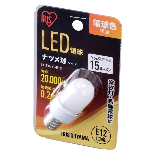 LDT1L-G-E12 直送 代引不可・他メーカー同梱不可 アイリスオーヤマ ナツメ球 E12 電球色 【48入】
