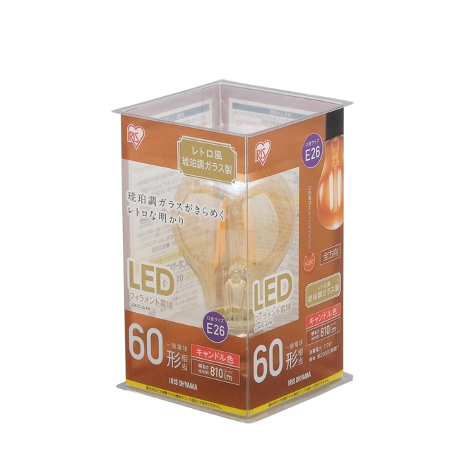 LDA7C-G-FK 直送 代引不可・他メーカー同梱不可 アイリスオーヤマ LEDフィラメント電球 レトロ球 E26 60形相当 【48入】