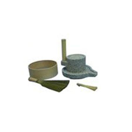 2344 ナガノ産業 みかげ石 皿型挽き臼セット18型 臼18cm