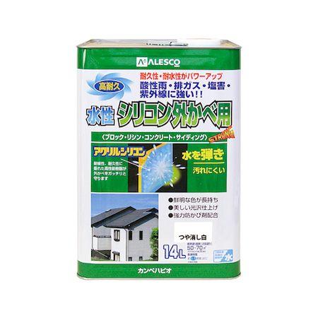 カンペハピオ 00427652981140 水性シリコン外かべ用 つや消し白 14L