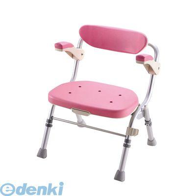 [VSY1203] 折りたたみシャワーチェア R型ピンク 肘掛付 4973665480615【送料無料】