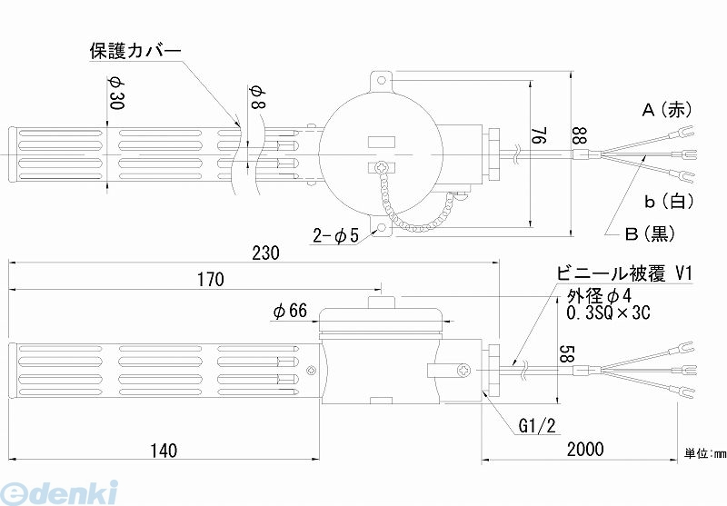 【個数:1個】日本電測 RN11-2M 壁取付型白金測温抵抗体 RN112M