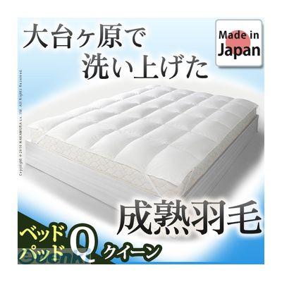 【個数:1個】 90400059 直送 代引不可・他メーカー同梱不可 ホワイトダック 成熟羽毛寝具シリーズ ベッドパッドプラス クイーン