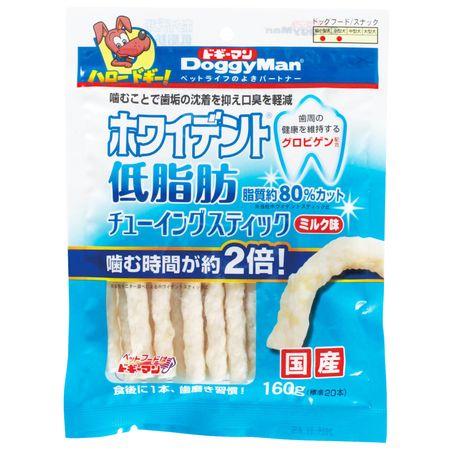 ドギーマン[81902] ホワイデント 低脂肪 チューイングスティック ミルク味 160g