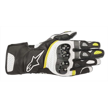 アルパインスターズ(alpinestars)[8033637037318] SP-2 V2 LEATHER GLOVE BLACK WHITE YELLOW FLUO 2XL