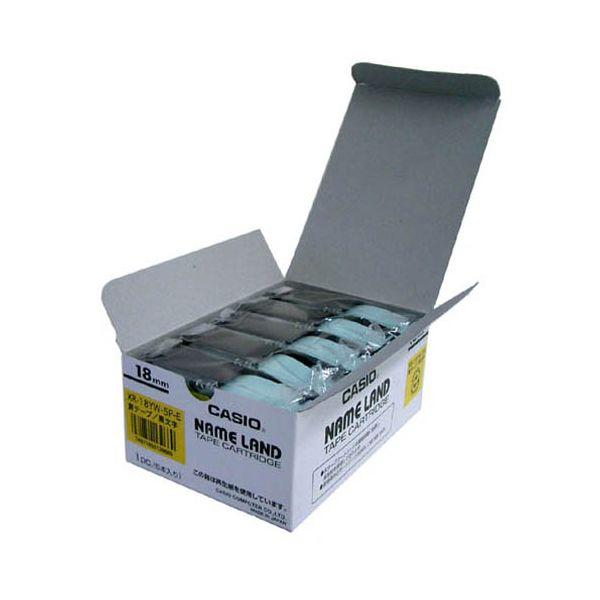 2147345066006 カシオ計算機 テープ XR-18YW-5P-E 黄に黒文字 18mm 20個 XR-18YW-20P-E