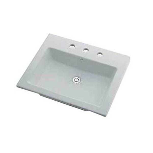 カクダイ 493-009 角型洗面器/3ホール 493009