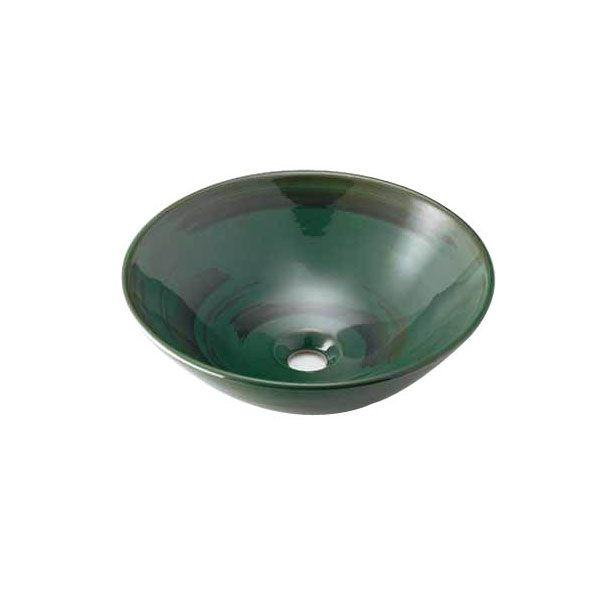 カクダイ 493-046-GR 丸型手洗器/青竹 493046GR