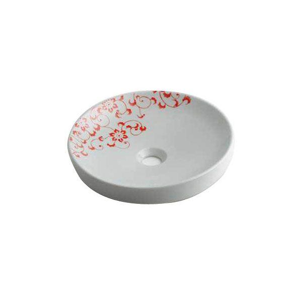 カクダイ 493-097-P 丸型手洗器/サーモンピンク 493097P