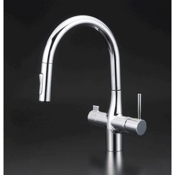 KVK 4952490802748 浄水器混合栓 グース 正規認証品!新規格 大決算セール 浄水器専用シングルレバー式シャワー付混合栓eレバー e KM6081V11EC