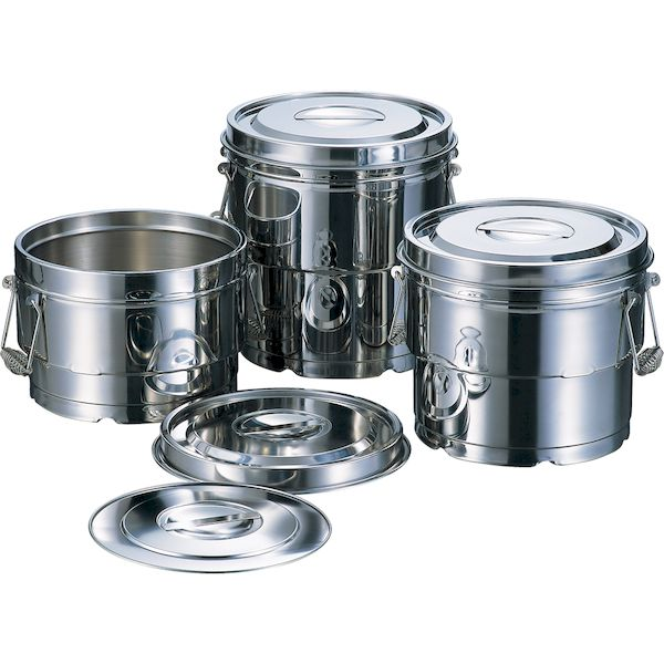 4560127495234 赤川器物製作所 18-8段付二重汁食缶 3点クリップ付 8L