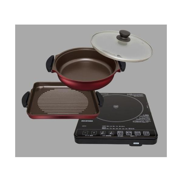 【個人宅配送不可】 エスコEA763AK-35 直送 代引不可・他メーカー同梱不可 IH調理器・鍋プレートセット EA763AK35