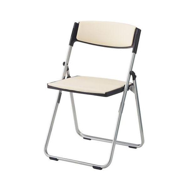 【個人宅配送不可】 エスコEA956XE-47 直送 代引不可・他メーカー同梱不可 折畳み椅子 ブラック/アイボリー EA956XE47