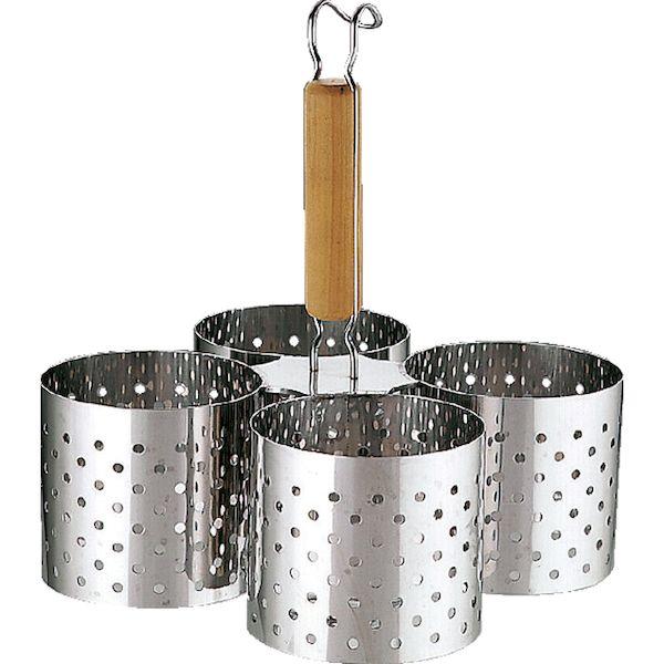 4520785085802 三宝産業 UK18-8パンンチング木柄かき揚げリング4連 S