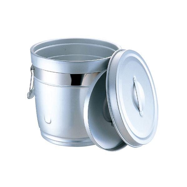 4701231800501 オオイ金属 シルバーアルマイト 丸型二重中蓋式食缶 14L 234