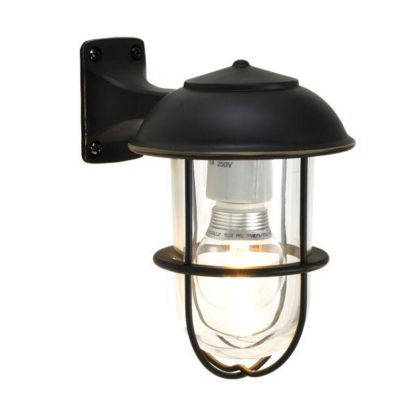 ゴーリキアイランド 700353 真鍮製ブラケットランプ クリアガラス&LEDランプ BR5000 CL LE 黒色 ポーチライト アンティーク レトロ