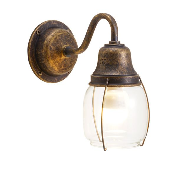 ゴーリキアイランド 700475 真鍮製ブラケットランプ クリアガラス&LEDランプ BR1720 CL LE 古色 ポーチライト アンティーク レトロ